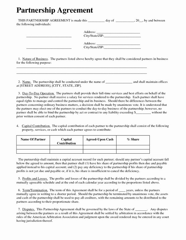Affiliate Partnership Agreement Template Fresh Partnership Agreement Sample