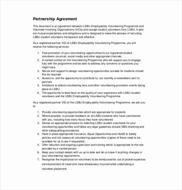 Affiliate Partnership Agreement Template Lovely 18 Partnership Agreement Templates – Free Sample Example