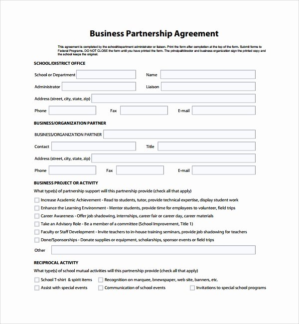 Affiliate Partnership Agreement Template Luxury 8 Business Partner Agreements