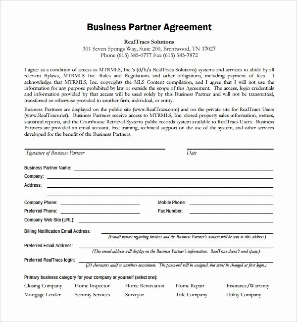 Affiliate Partnership Agreement Template New 8 Business Partner Agreements