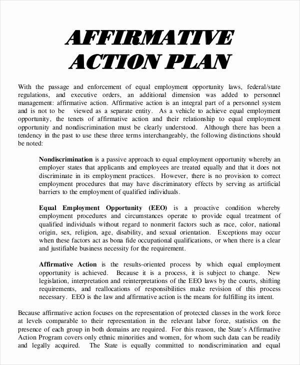 Affirmative Action Plan Template Unique 16 Action Plan Templates