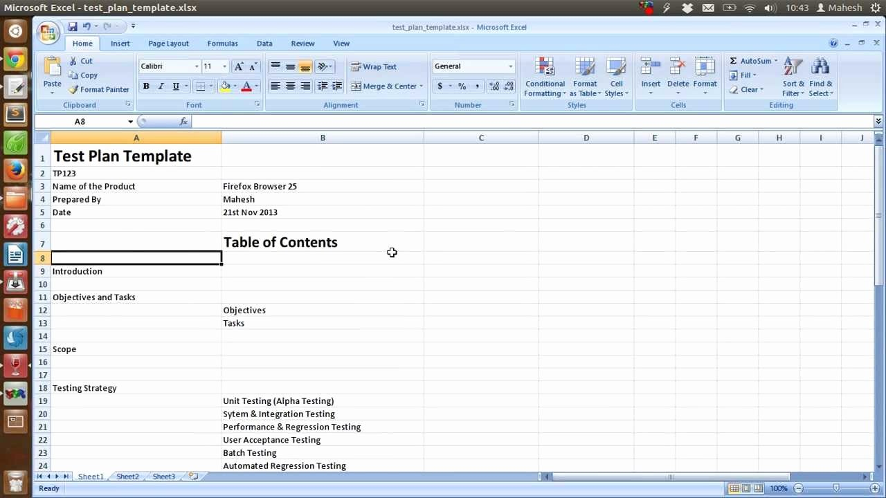 Agile Test Plan Template Fresh Test Plan Template Excel