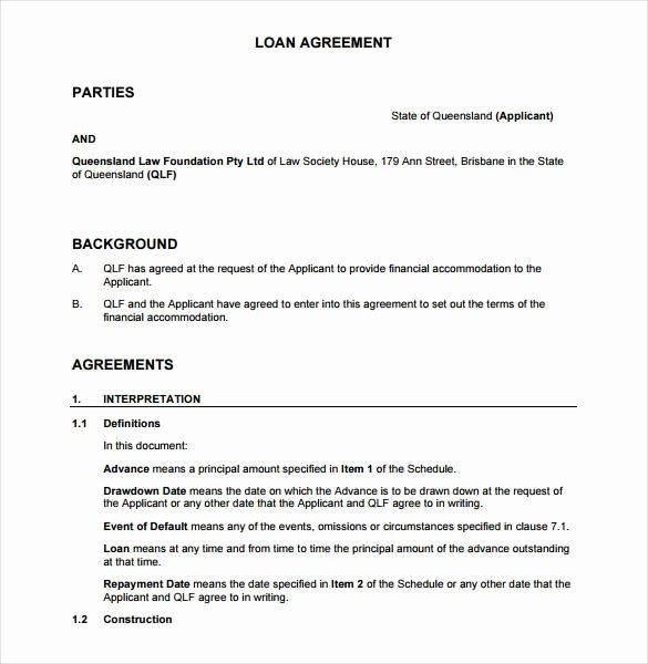 Agreement Letter Between Two Parties Template Elegant 26 Great Loan Agreement Template