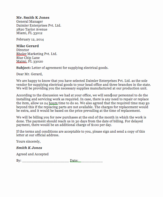 Agreement Letter Between Two Parties Template Luxury Agreement Letter Between Two Parties