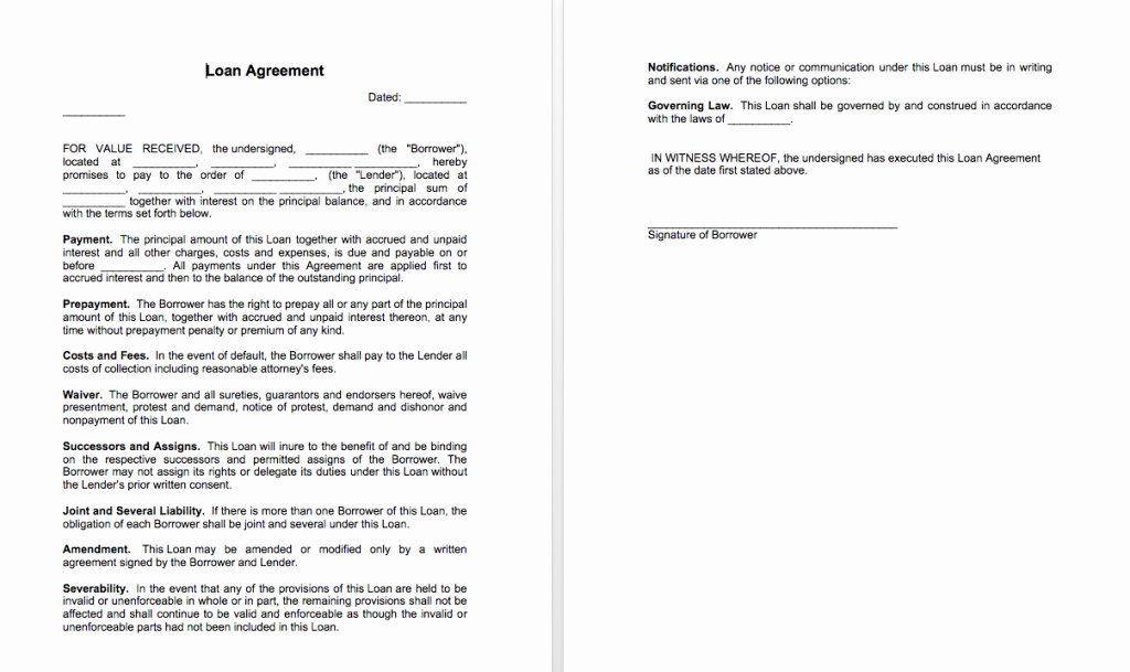 Agreement Letter Between Two Parties Template Luxury Sample Of Loan Agreement Between Two Parties