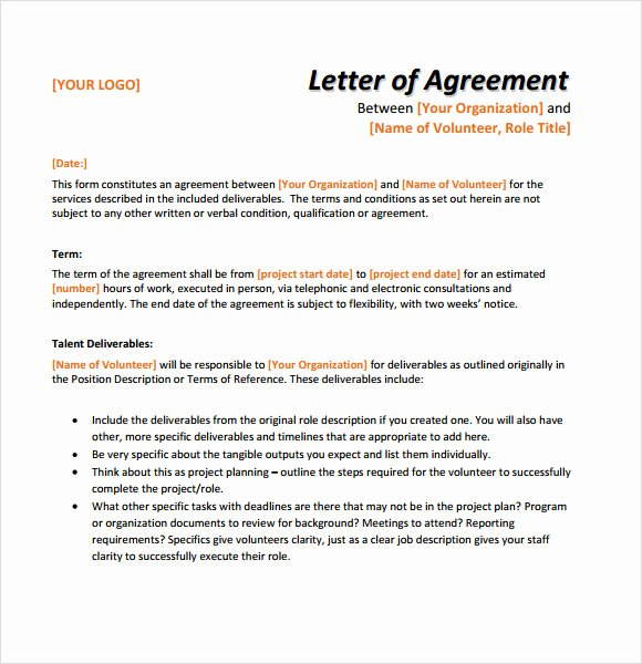 Agreement Letter Between Two Parties Template Unique Sample Letter Of Agreement – 11 Example format