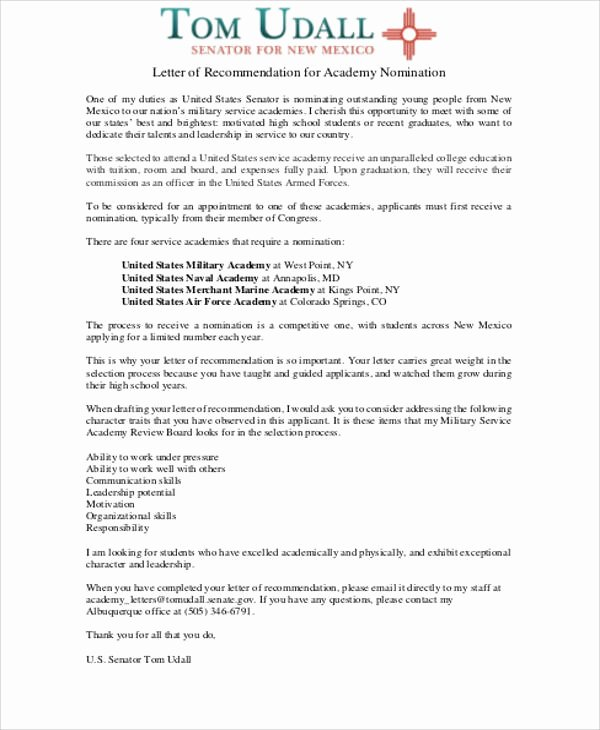 Air force Academy Recommendation Letter Best Of Sample Military Letter Of Re Mendation 7 Examples In