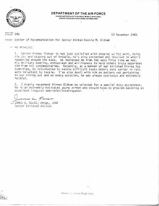 Air force Letter Of Recommendation Awesome Air force Letter Re Mendation