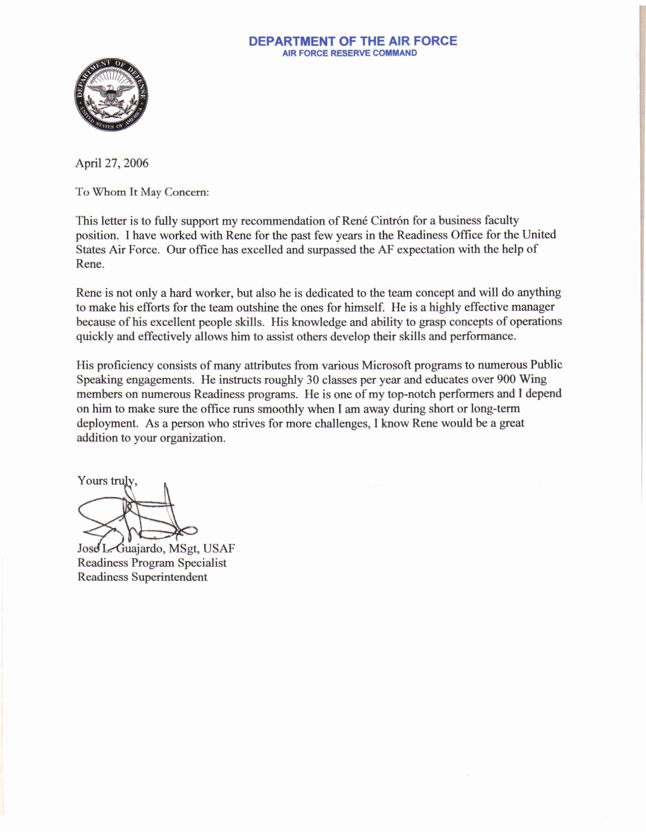 Air force Letter Of Recommendation Beautiful Air force Letter Re Mendation