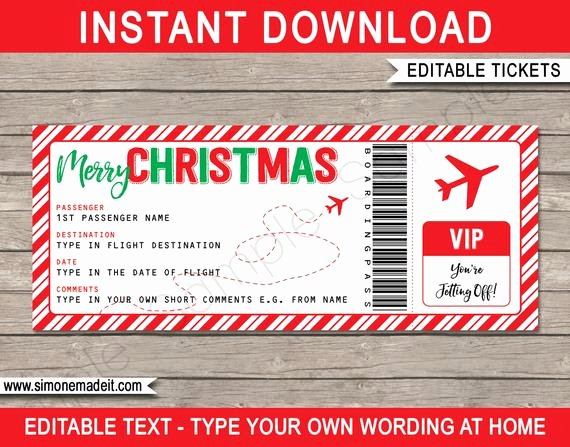 Airline Ticket Gift Certificate Template Beautiful Christmas Boarding Pass Gift Ticket Surprise Trip Getaway