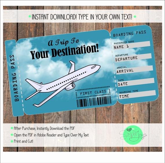 Airline Ticket Gift Certificate Template Beautiful Printable Vacation Surprise Ticket Boarding Pass