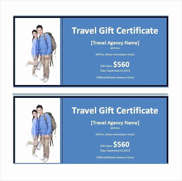 Airline Ticket Gift Certificate Template Fresh 11 Travel Gift Certificate Templates Free Sample