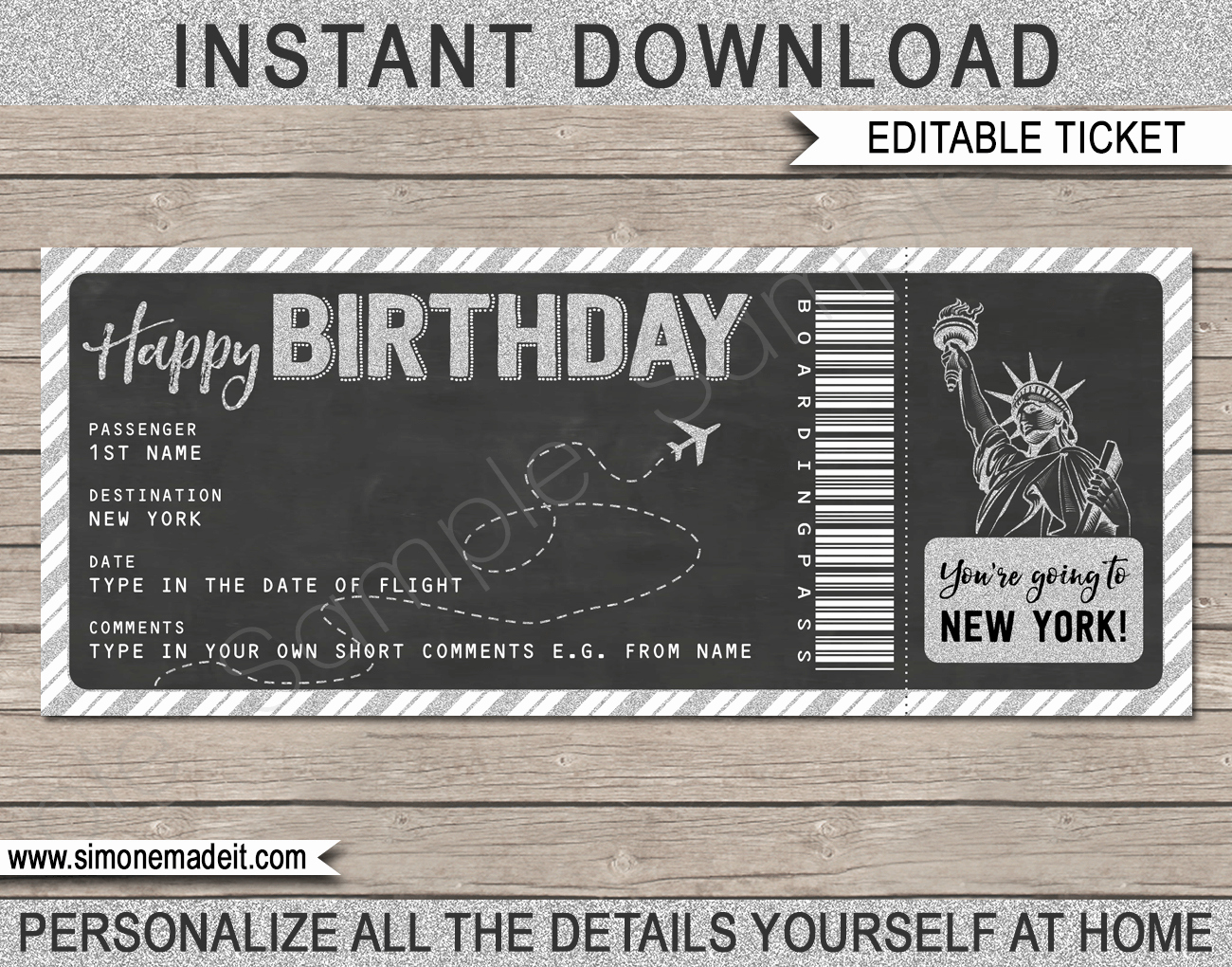 Airline Ticket Gift Certificate Template Inspirational Surprise Trip to New York Plane Ticket