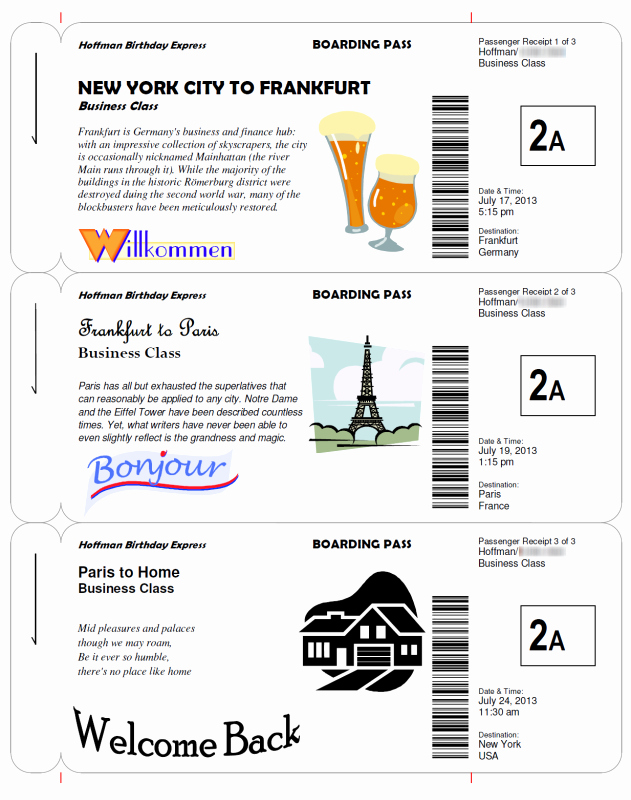 Airline Ticket Gift Certificate Template Lovely Boarding Pass Templates for Invitations & Gifts