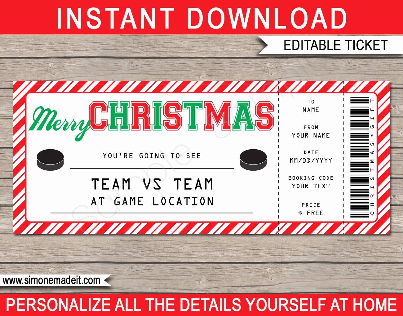 Airline Ticket Gift Certificate Template Lovely Christmas Hockey Ticket Gift Voucher