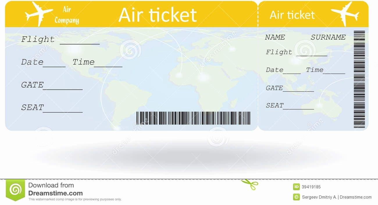 Airline Ticket Gift Certificate Template New International Plane Ticket Template Google Search