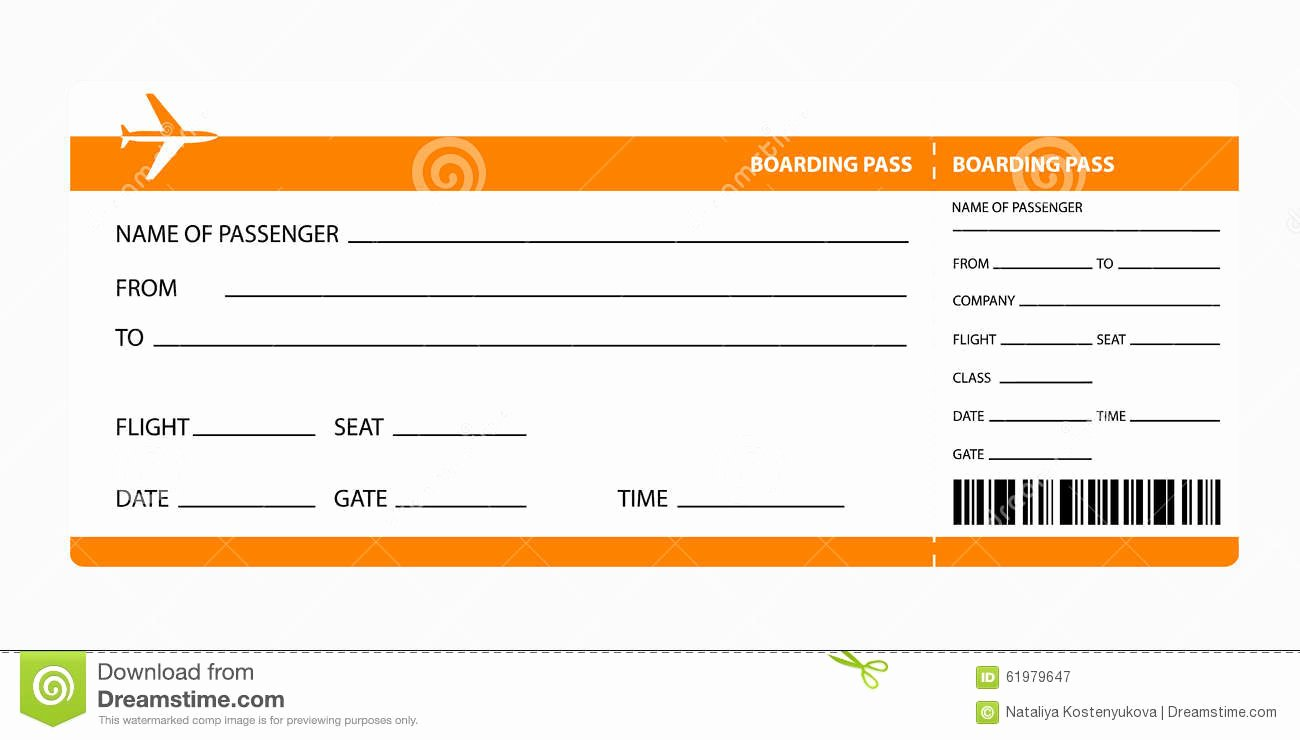 Airline Ticket Gift Certificate Template Unique orange Boarding Pass Stock Vector Illustration Of