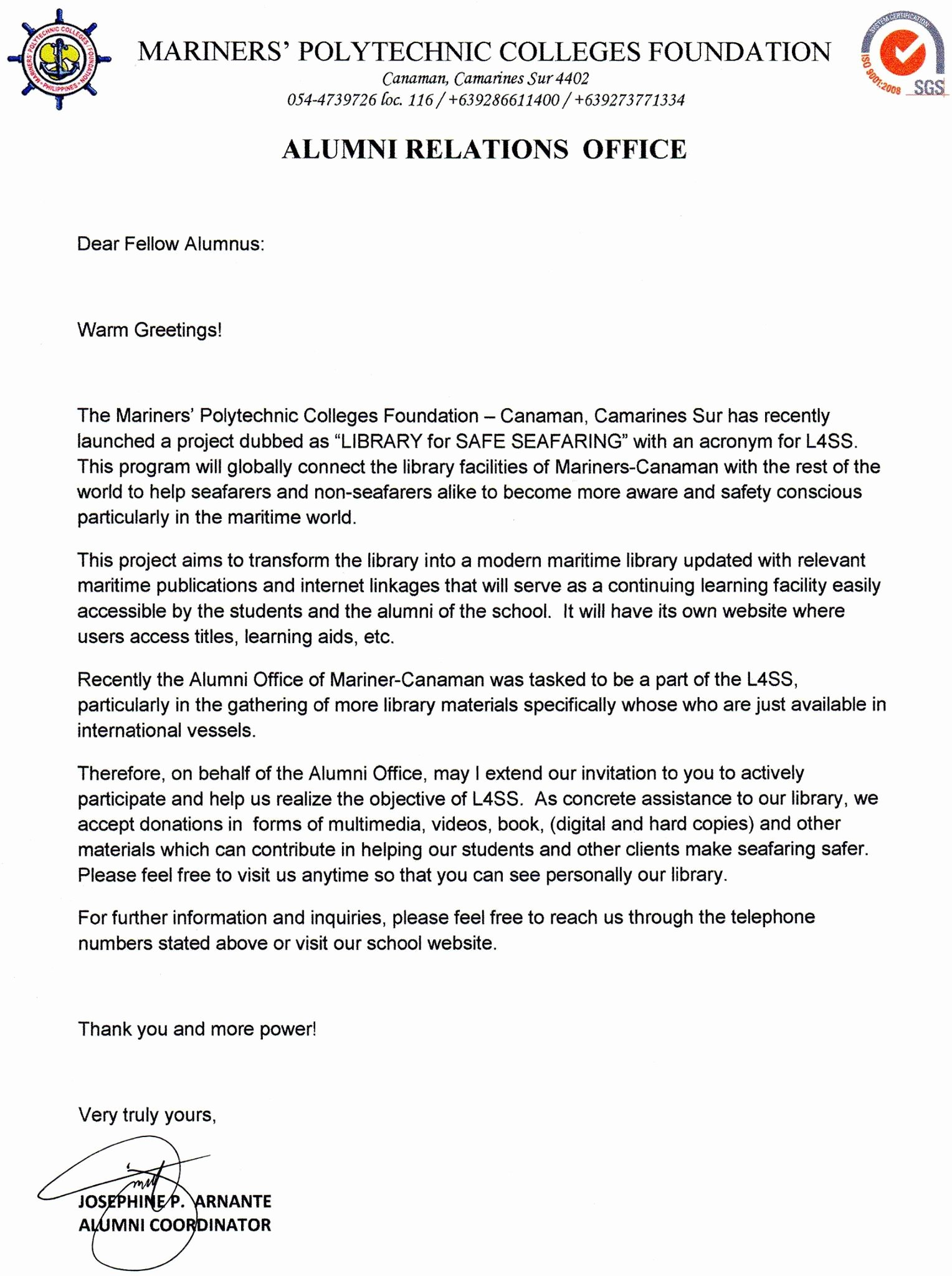Alumni Letter Of Recommendation Beautiful Mariners Canaman
