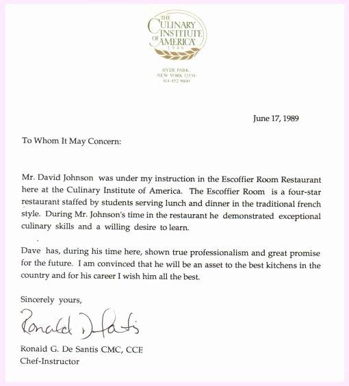 Alumni Letter Of Recommendation Elegant Pro Chef David Johnson Culinary Institute Of America
