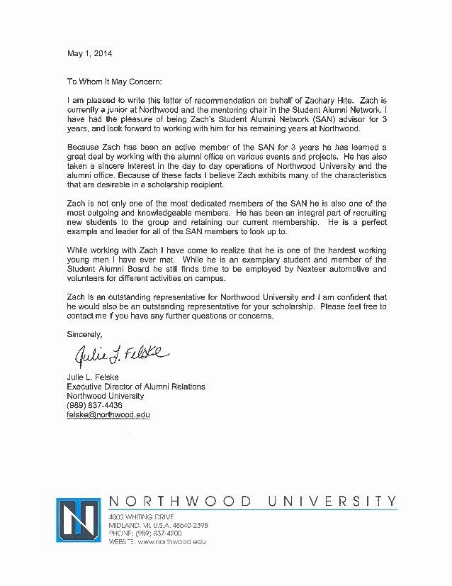 Alumni Letter Of Recommendation Unique Letter Of Re Mendation Julie Felske