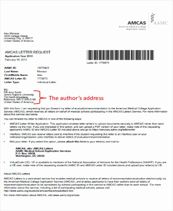 Amcas Recommendation Letter Guidelines Luxury Medical School Application Letter Sample