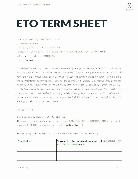 Angel Investor Proposal Template Elegant Equity Term Sheet Template and New Founder Stock Purchase