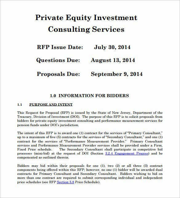 Angel Investor Proposal Template New Private Equity Proposal Template