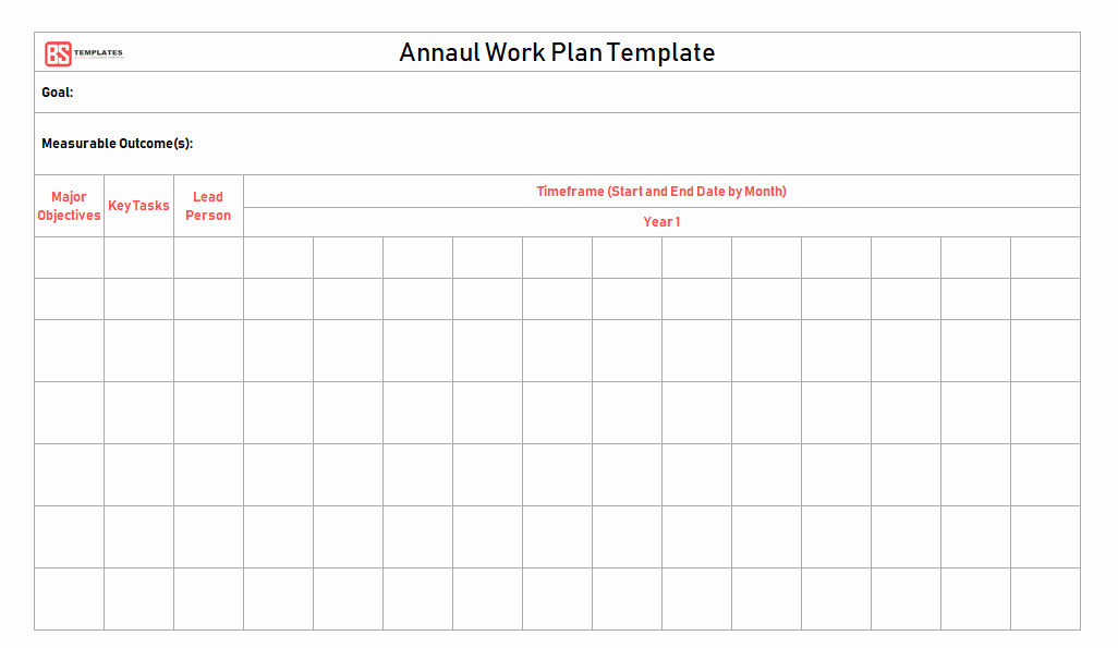 Annual Work Plan Template Lovely Work Plan [ Templates Samples