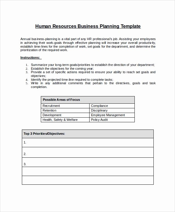 Annual Work Plan Template New 10 Sample Hr Plans
