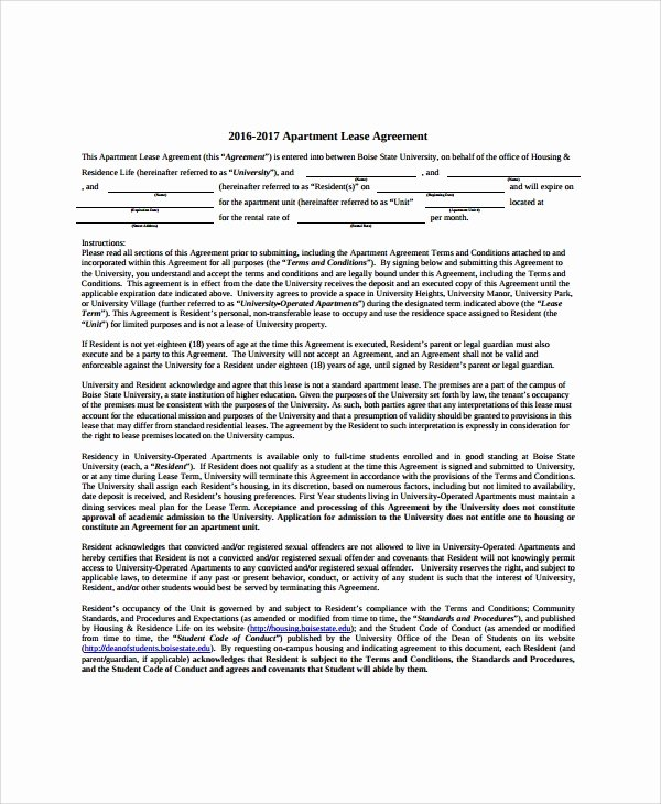 Apartment Lease Transfer Agreement Template Awesome 8 Apartment Lease Agreement Samples Examples Templates
