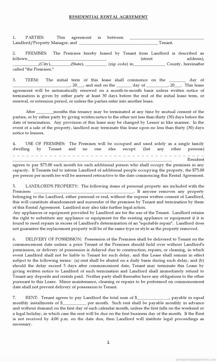 Apartment Lease Transfer Agreement Template Inspirational Free Rental Agreement forms Lease Agreement0001