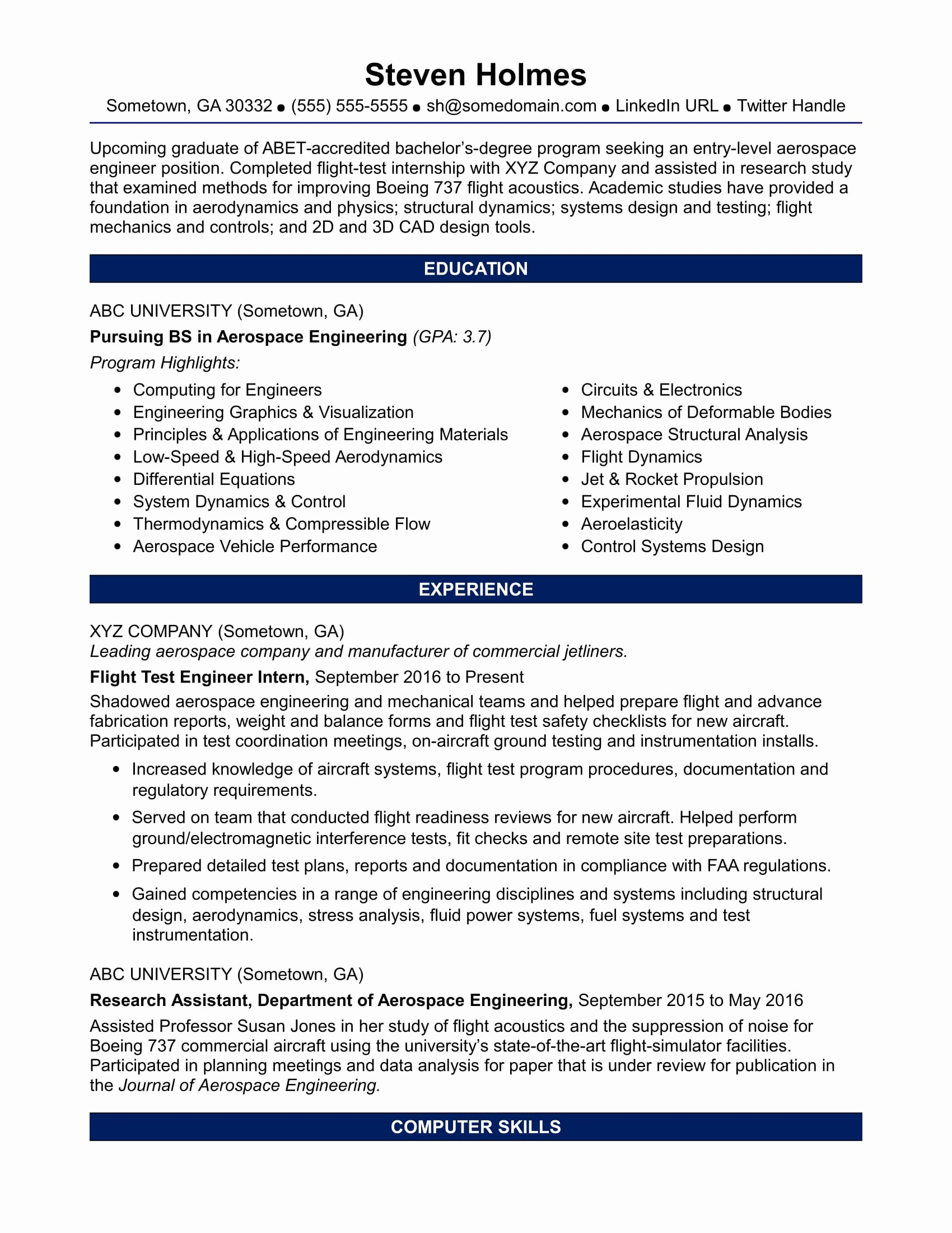 Applied Physics Letters Word Template Best Of Sample Resume for An Entry Level Aerospace Engineer