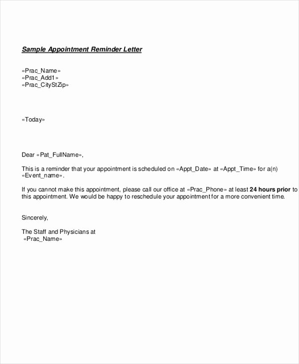 Appointment Reminder Letter Template Medical Elegant 10 Doctor Appointment Letter Templates Doc Pdf