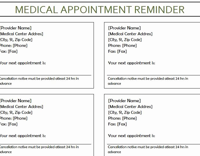 Appointment Reminder Letter Template Medical Elegant Medical Appointment Reminder My Excel Templates