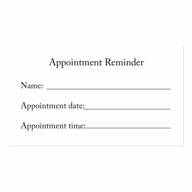 Appointment Reminder Letter Template Medical Luxury Appointment Reminder Card Business Card Template