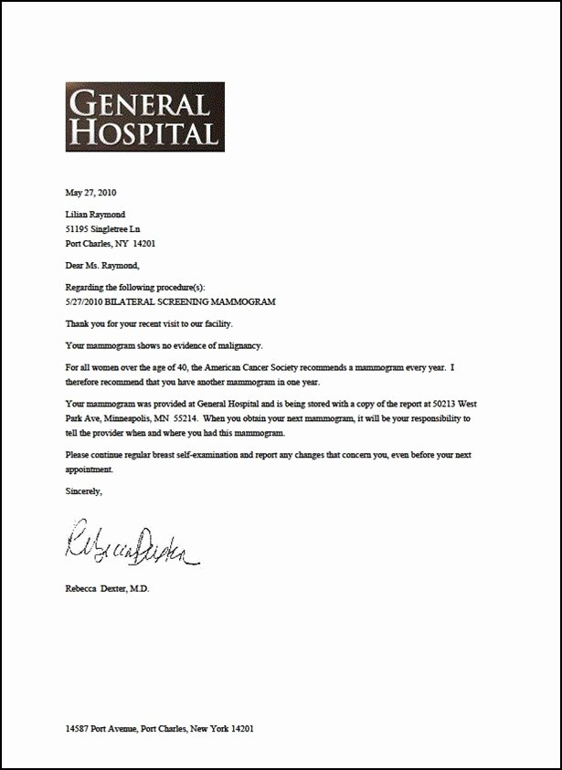Appointment Reminder Letter Template Medical New Mammogram Reminder Letter Template Bluemooncatering