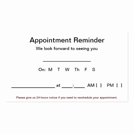 Appointment Reminder Letter Template Medical New Medical Appointment Cards Business Card Templates