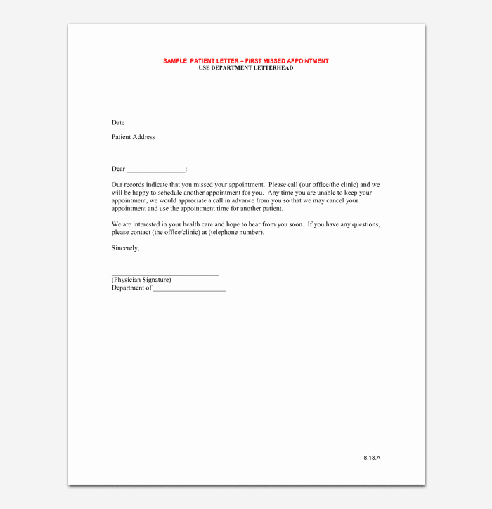 Appointment Reminder Letter Template Medical Unique Doctors Appointment Letter 13 Sample Letters & formats