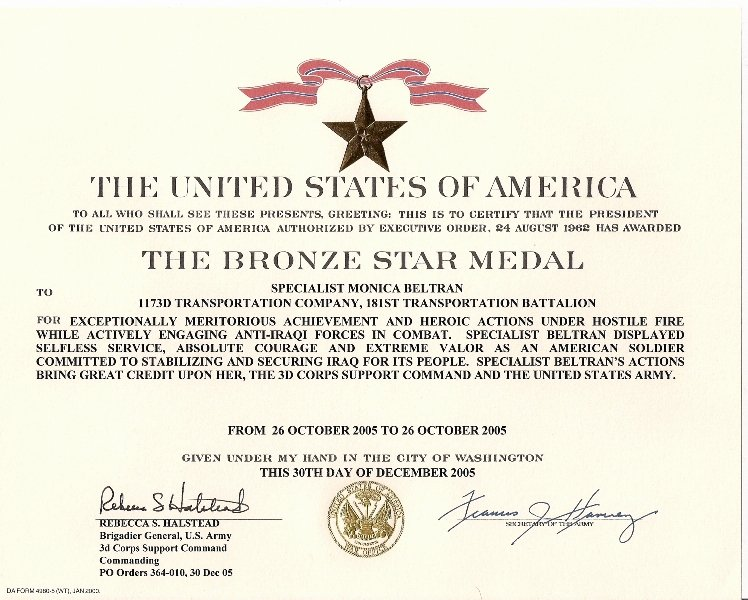 Army Award Certificate Template Awesome File Monica Beltran S Bronze Star Medal with Valor