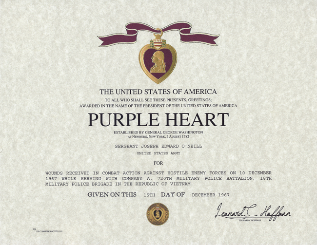 Army Award Certificate Template Awesome Purple Heart Certificate Purple Heart Medal Replacement