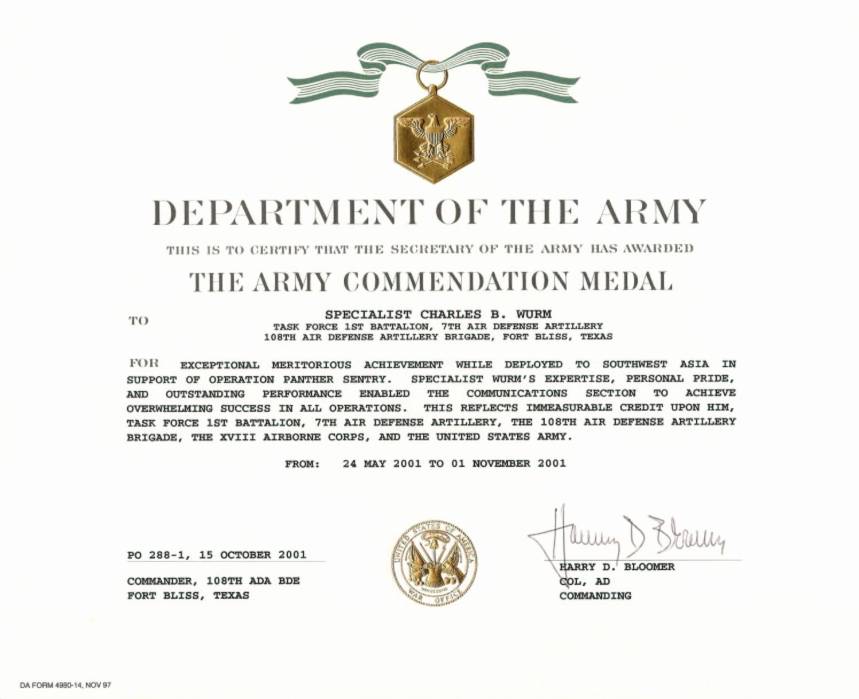 Army Award Certificate Template Beautiful Education Awards
