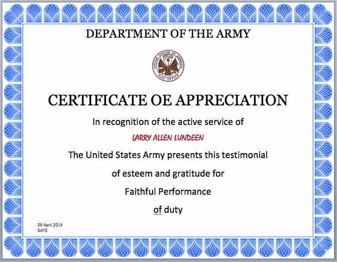 Army Award Certificate Template Best Of 16 Of Frg Awards Template