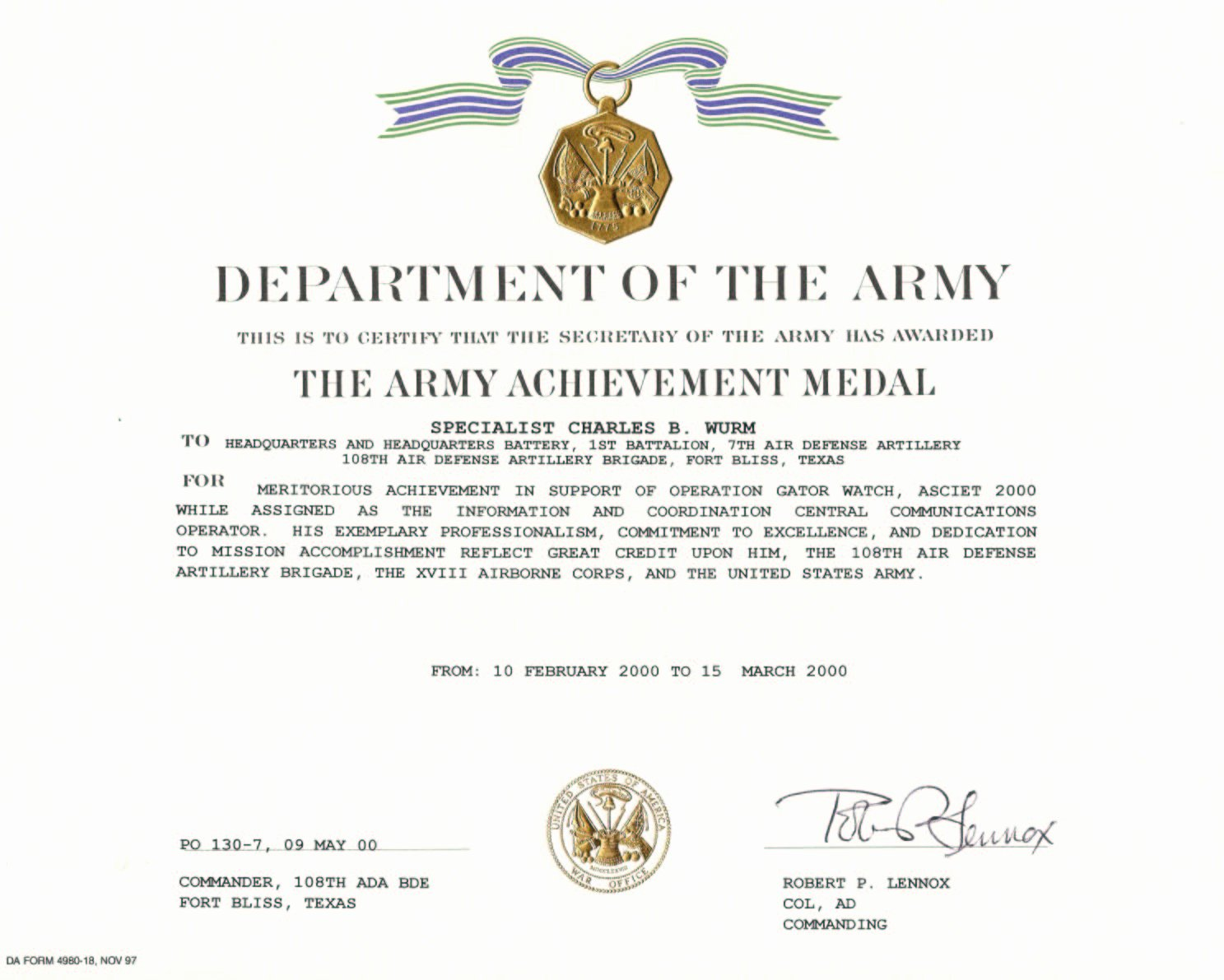 Army Award Certificate Template Best Of form Army Award form