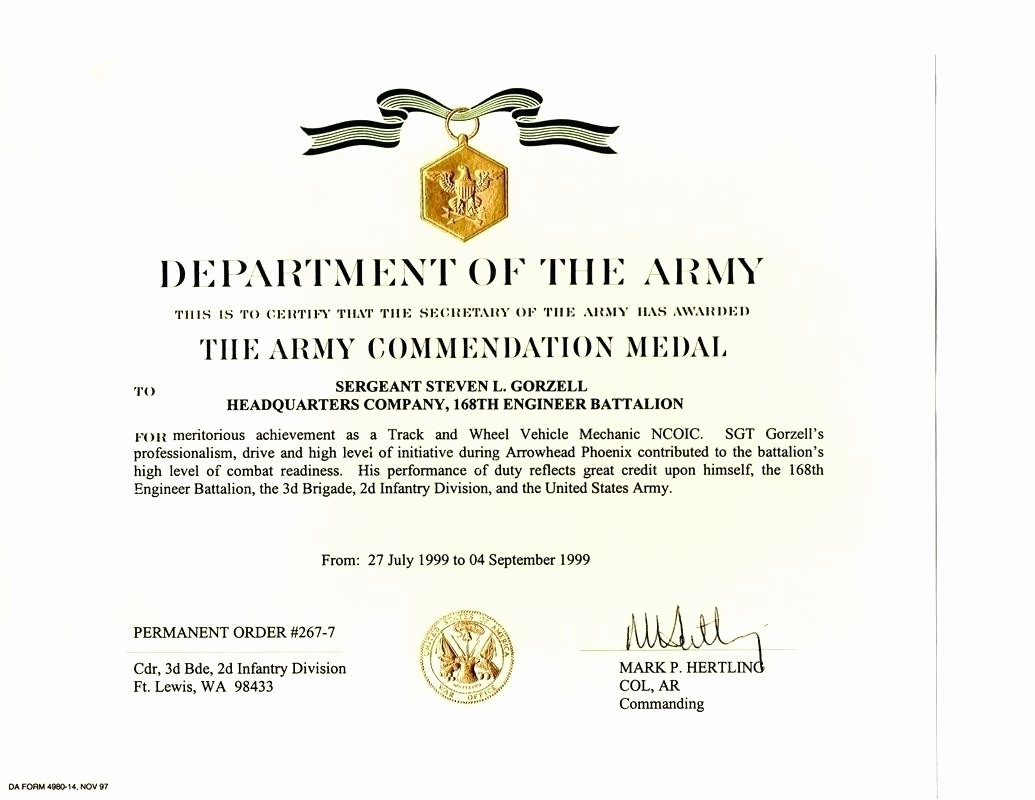 Army Award Certificate Template Fresh Military Award Certificate Template
