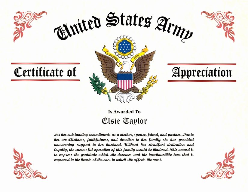 Army Award Certificate Template Fresh Us Army Certificate Of Appreciation Template Army