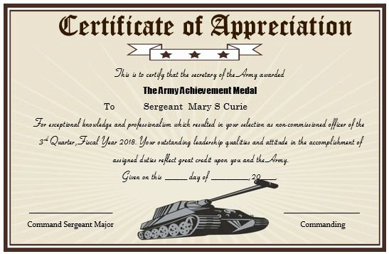 Army Award Certificate Template Inspirational 20 Professional Army Certificate Of Appreciation
