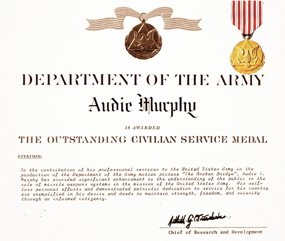 Army Award Certificate Template Lovely Au Murphy Filmography Military Wiki