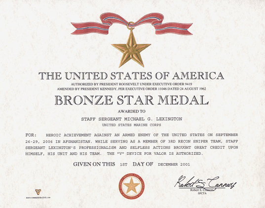 Army Award Certificate Template Lovely Bronze Star Medal Replaement Certificate
