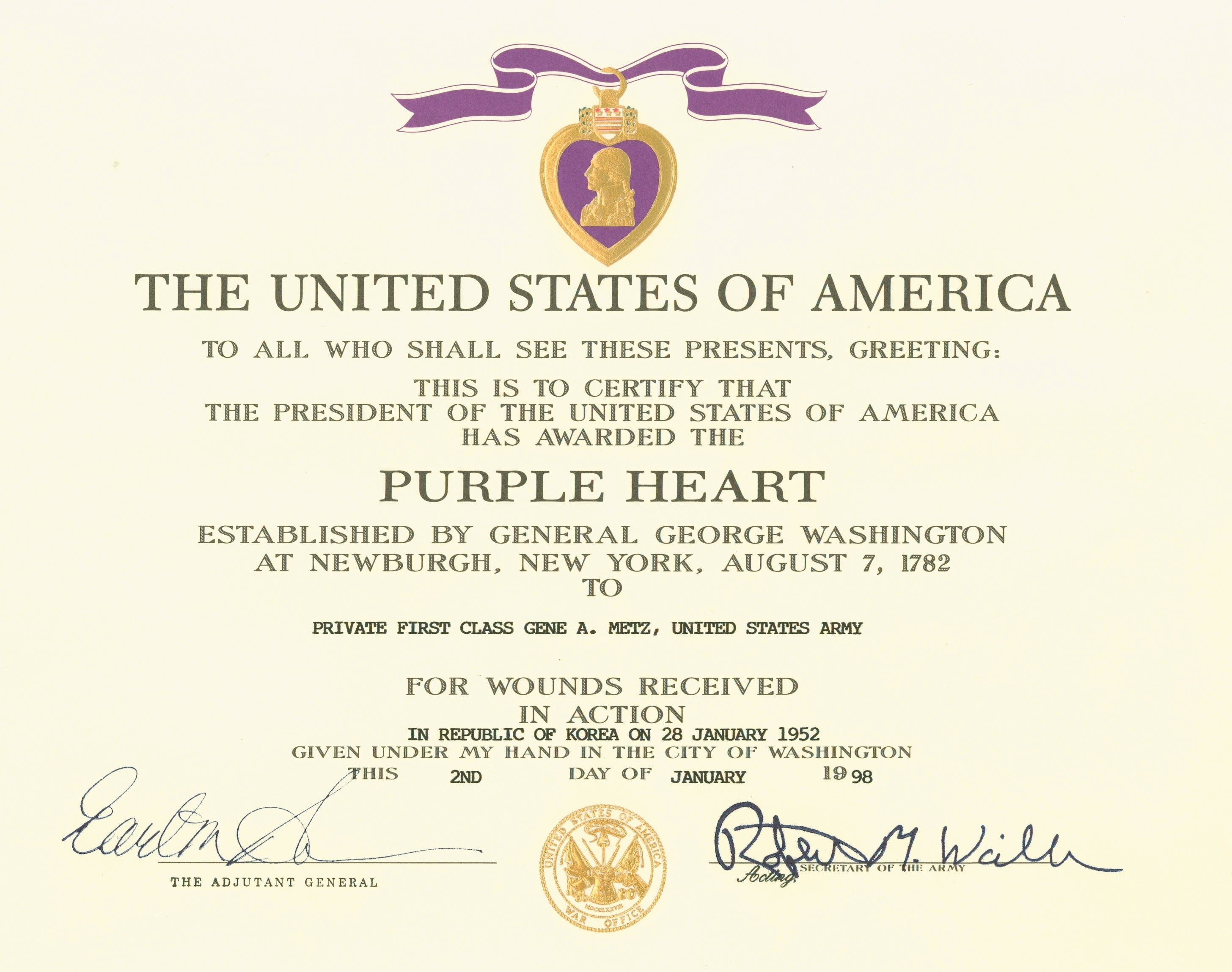 Army Award Certificate Template Unique Purple Heart Military Wiki