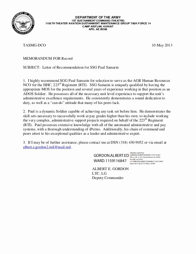 Army Letter Of Recommendation Elegant Letter Of Rec Ltc Gordon